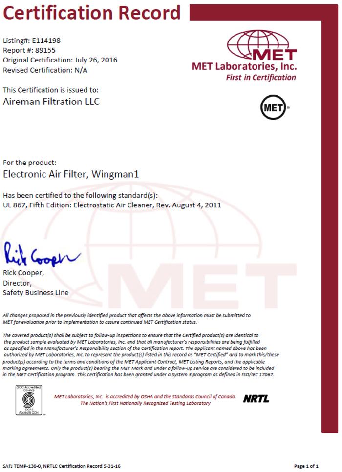 UL 867 Certificate